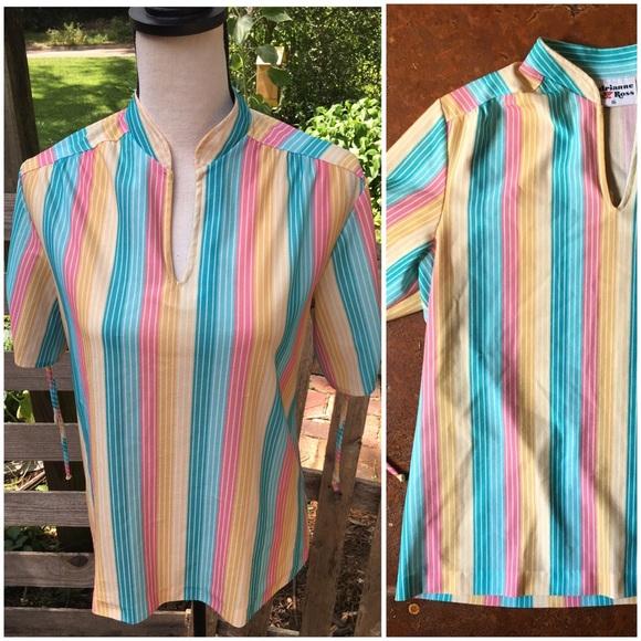 70s Vintage Rainbow Top - Roller Girl Vibes, Shirt